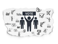 Politics concept: Election Campaign on Torn Paper background - stock illustration