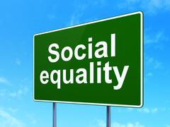 Political concept: Social Equality on road sign background Stock Illustration