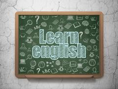 Learning concept: Learn English on School board background Stock Illustration