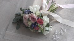 Wedding bouquet on the floor Stock Footage