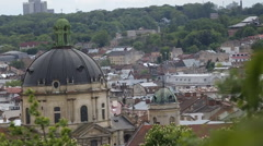 Dominican castle in Lviv at cold day Stock Footage