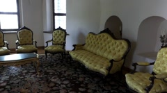 The Room is Furnished With Vintage Armchairs and Sofas. Stock Footage