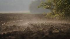 The plowed field. Morning vapor over the land. close up Stock Footage