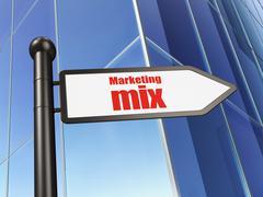 Marketing concept: sign Marketing Mix on Building background - stock illustration