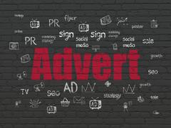 Marketing concept: Advert on wall background Stock Illustration