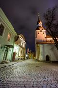 Old city night landscape in Tallin - stock photo
