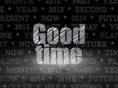 Time concept: Good Time in grunge dark room Stock Illustration
