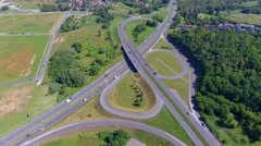 Busy highway aerial view in Poland. Stock Footage