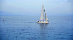 Sailing boat is driving in the deep sea Stock Footage