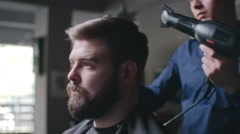 Styling Hair of Man Stock Footage