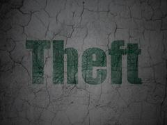 Safety concept: Theft on grunge wall background - stock illustration