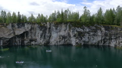 Beautiful Landscape with Green Water in Marble Canyon Ruskeala in Karelia Stock Footage