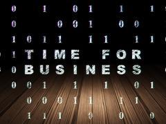 Finance concept: Time for Business in grunge dark room - stock illustration