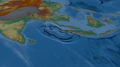 Tsunami waves propagation - Sumatra-Andaman 2004. Relief Stock Footage