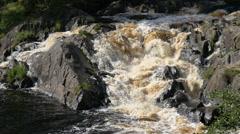 Mountain waterfall in North Karelia Stock Footage