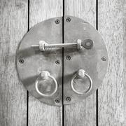 Black and white Vintage black Latch on wood Stock Photos