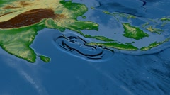 Tsunami waves propagation - Sumatra-Andaman 2004. Bumps shaded Stock Footage