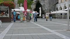 The caves entrance in Postojna, Slovenia Stock Footage