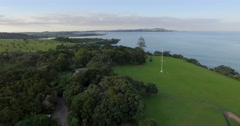 Aerial over a Waitangi treaty grounds, Northland, New Zealand Stock Footage