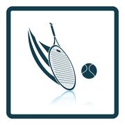 Tennis racket hitting a ball icon Stock Illustration