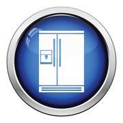 Wide refrigerator icon - stock illustration