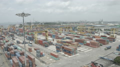 Cargo Containers At Commercial Port Stock Footage