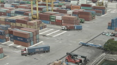 Port Warehouse With Lorry Trucks - stock footage