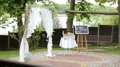 Wedding Flower Arch Decoration in the park Stock Footage