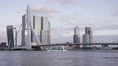 Rotterdam Erasmusbridge with the Rotterdam Office building Stock Footage