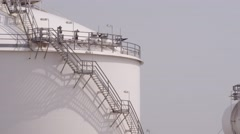 Oil Petrol storage tank at Maasvlakte Rotterdam Stock Footage
