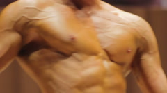 Unhealthy body of man suffering vascular disease due to excessive gym workouts - stock footage