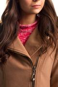 Beige coat with diagonal zipper. - stock photo