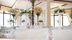 Wedding Very Nicely Decorated Table in Modern Style. Beautiful Flowers on Table Stock Footage