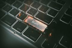 Computer keyboard with burn key. business concept Stock Illustration