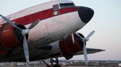 Old Propeller Airplane on deserted runway 1 Stock Footage