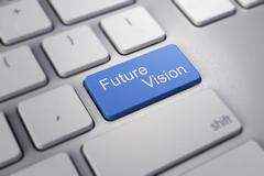 future vision key on keyboard showing time concept - stock illustration