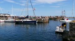 Harbor area in Svaneke at the isle of Bornholm Stock Footage