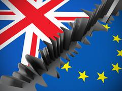 British and European Union flags separated by crack Stock Illustration