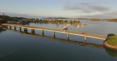 Aerial over a bridge in Waitangi to treaty grounds, New Zealand Stock Footage