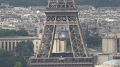 Eiffel Tower Zoom Out To Paris Aerial Shot, 60fps Stock Footage