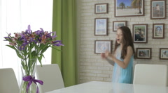 Beautiful girl rejoices donated bouquet of flowers Stock Footage