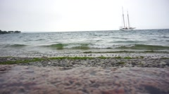 Heavy rain with waves on garda lake Stock Footage
