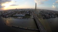 Aerial bridge at sunset traffic Stock Footage