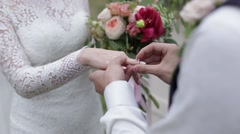 A man gives beloved engagement ring. Stock Footage