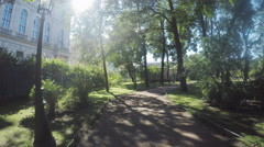 Path in citys park Stock Footage
