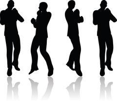 Boxer businessman vector silhouette Stock Illustration