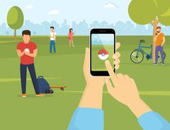 People using smartphones to catch pokemons in the park Stock Illustration