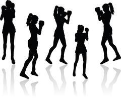 Boxer woman vector silhouette Stock Illustration