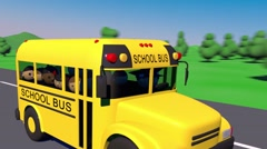 School bus goes to school. The bus carries children to school. Stock Footage