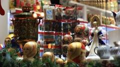 Russian nesting dolls in the souvenir shop window Stock Footage